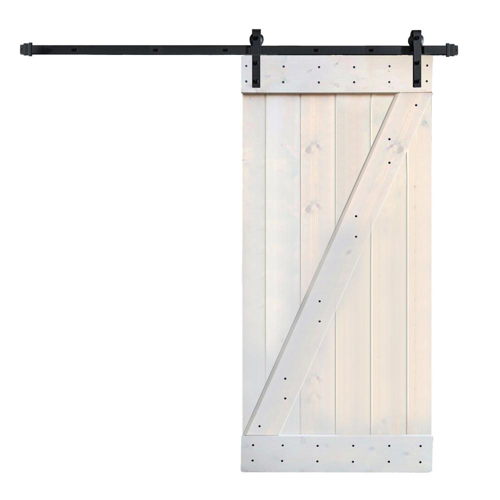 36 In X 84 Z Series Diy Light Grey Finished Knotty Pine Wood Barn Door With 6 Ft Sliding Track Hardware Kit