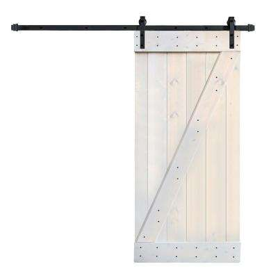 36 in. x 84 in. Z Series DIY Light Grey Finished Knotty Pine Wood Barn Door with 6.6 ft. Sliding Door Track Hardware Kit