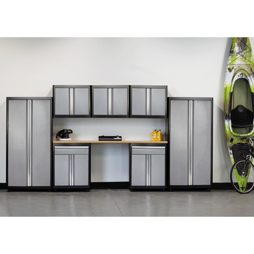 American Heritage 75 in. H x 162 in. W x 18 in. D Welded Steel Garage Cabinet Set in Black/Multi-Granite (8-Piece)