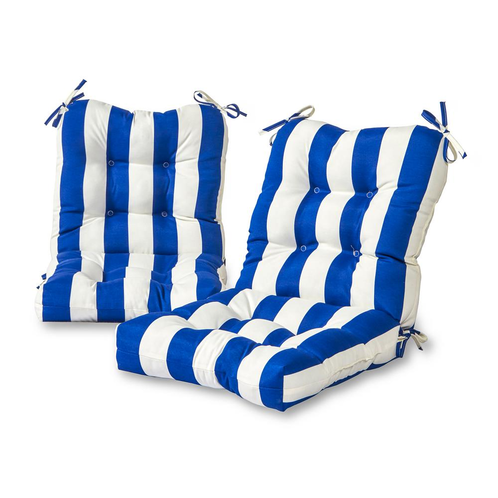 Greendale Home Fashions Cabana Stripe Blue 21 In X 42 In Outdoor Dining Chair Cushion 2 Pack Oc6815s2 Cabana Blue The Home Depot