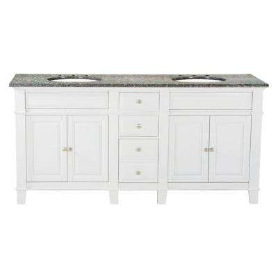 72 in. W x 23 in. D Solid Hardwood Double Vanity in Swiss White with Solid Granite Top in Leopard