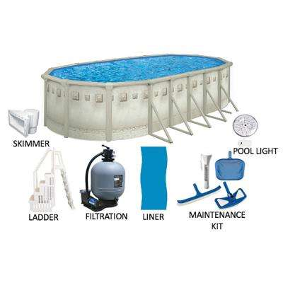 Palisades 18 ft. x 33 ft. Oval 52 in. Deep Hard Sided Above Ground Pool Package with Entry Step System