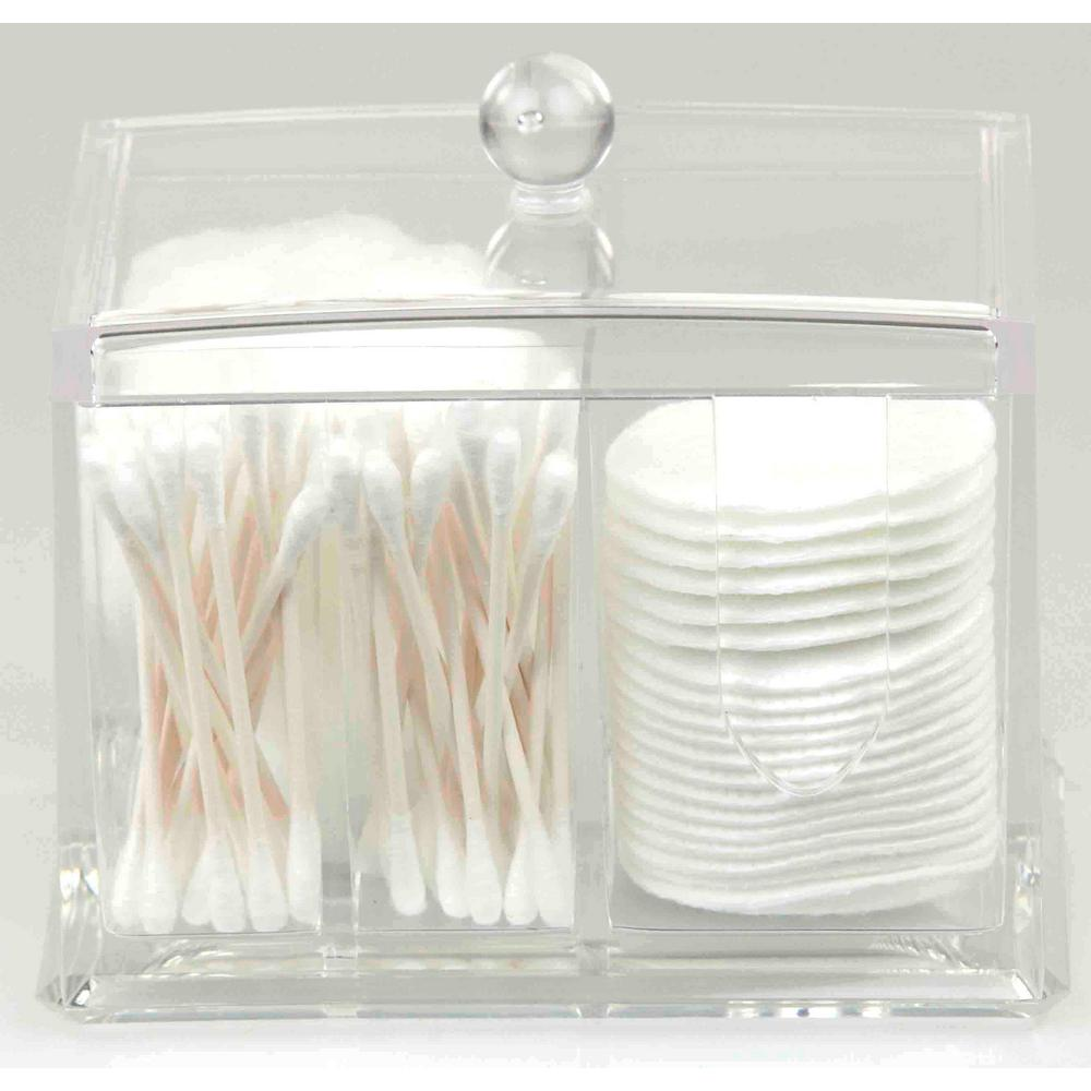 Home Basics 5.5 in. x 4.25 in. x 3.62 in. Clear Cosmetic Organizer