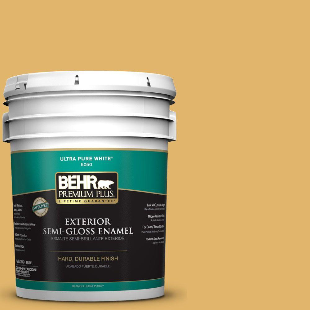BEHR Premium Plus 5-gal. #M290-5 English Custard Semi-Gloss Enamel Exterior Paint