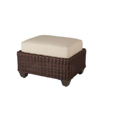 Mill Valley Fully Woven Patio Ottoman with Parchment Cushion