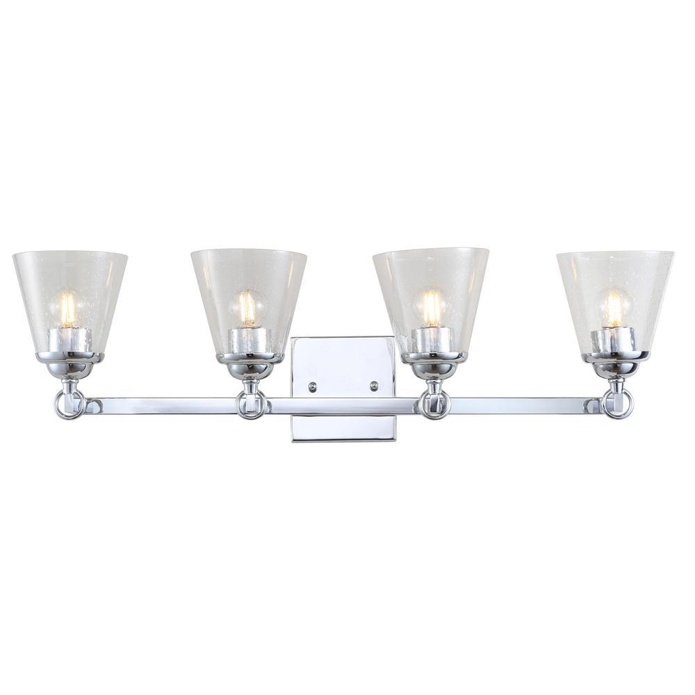 Marion 28.5 in. 4-Light Hurricane Metal/Glass Chrome Vanity Light