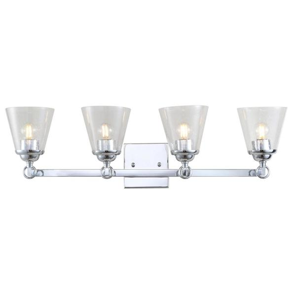 Marion 28.5 in. 4-Light Hurricane Metal/Glass Chrome Vanity Light