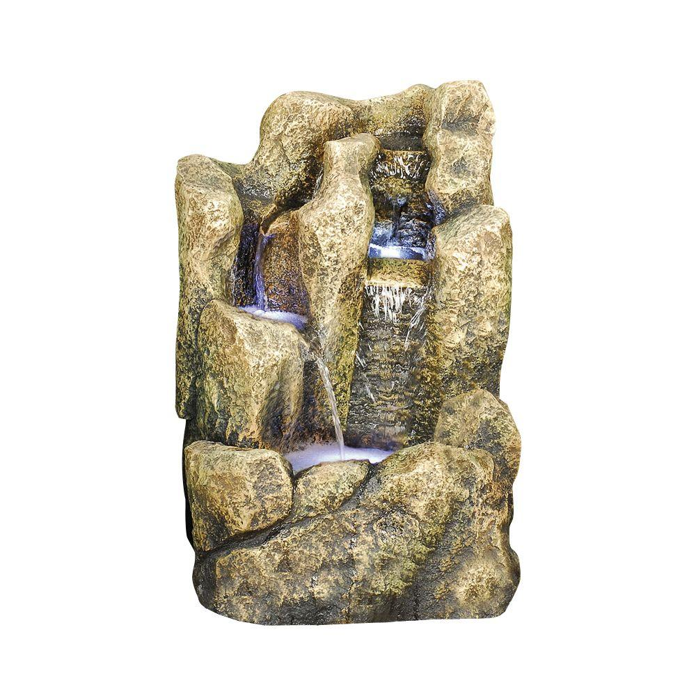 Design Toscano 13 in. W x 12 in. D x 20.1 in. H Three Tier Rock Ledge Vertical Fountain-DISCONTINUED
