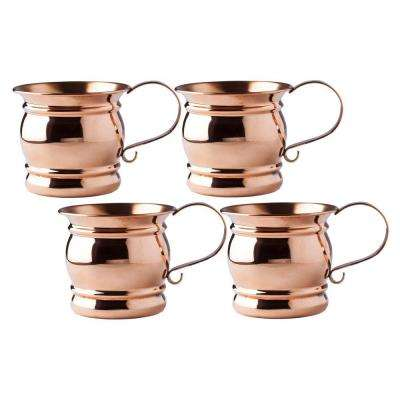 16 oz., 4 in. Solid Copper Moscow Mule Mug with Flat Handle, All Copper, Unlined and Unlacquered (Set of 4)