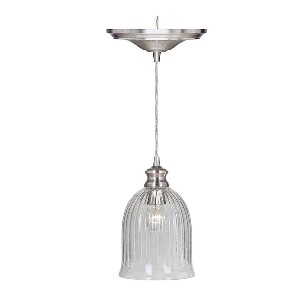 Home Decorators Collection Marissa 1 Light Brushed Nickel Pendant With Hardwire 1880110220 The