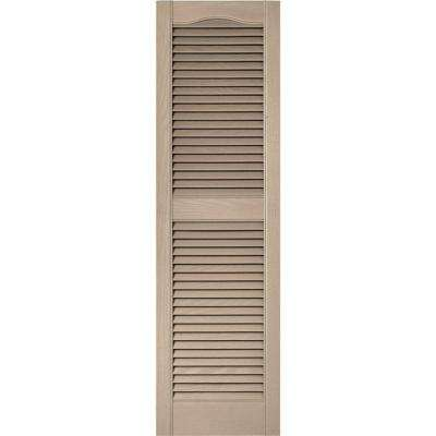 15 in. x 52 in. Louvered Vinyl Exterior Shutters Pair in #023 Wicker