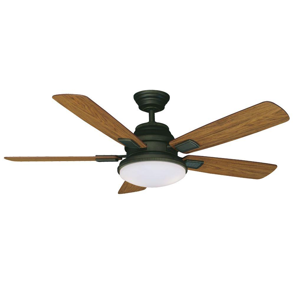 Hampton Bay Latham 52 in. Indoor Oil-Rubbed Bronze Ceiling Fan with Light Kit and Remote Control