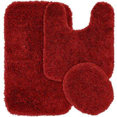 Jazz Chili Pepper Red 21 in. x 34 in. Washable Bathroom 3-Piece Rug Set