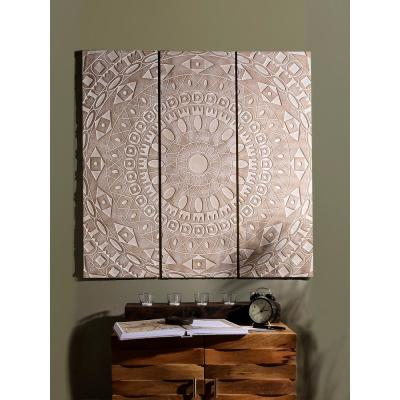 3-Piece Natural Carved Wood Rustic Wall Panel Set