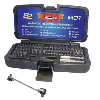 Half Cut, Stubby Bit Set, 77-Piece