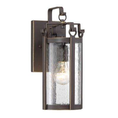 Somerset Lane 1-Light Dakota Bronze Outdoor Traditional Light Sconce with Clear Seeded Glass