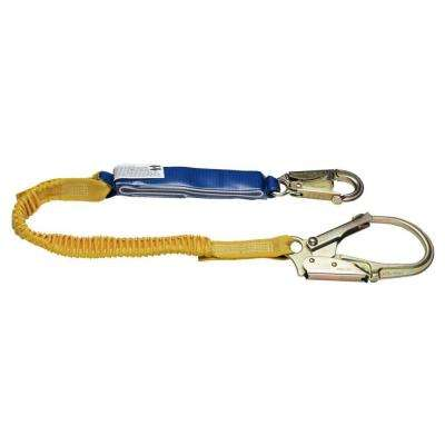 Upgear 6 ft. DeCoil Stretch Single Leg Lanyard (DCELL Shock Pack, Elastic Web, Snap Hook, Rebar Hook)