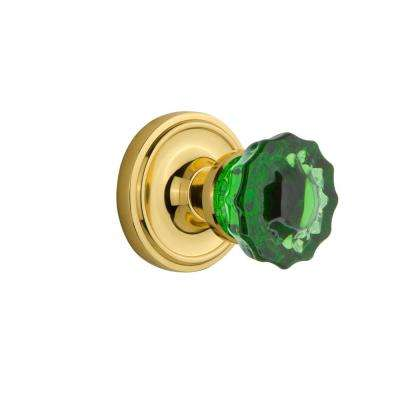 Classic Rosette 2-3/4 in. Backset Unlaquered Brass Privacy Crystal Emerald Glass Door Knob