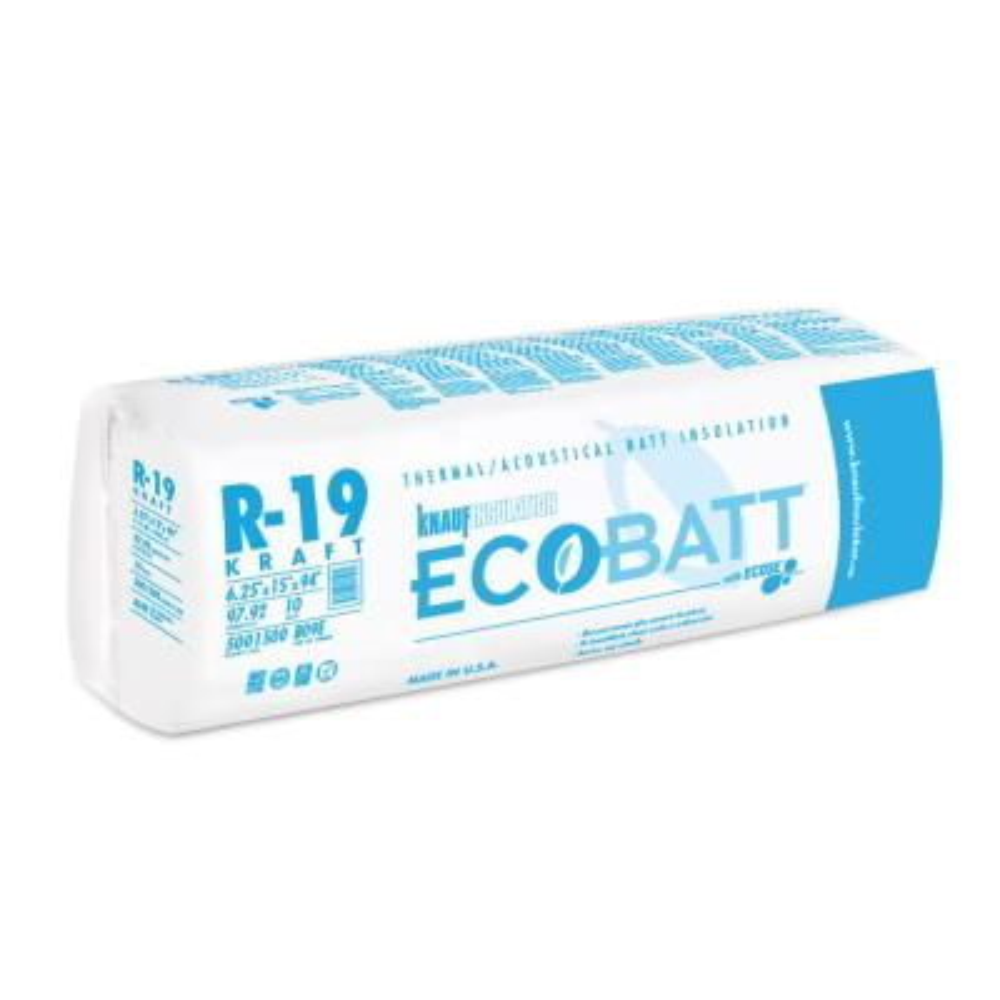 R-19 EcoBatt Kraft Faced Fiberglass Insulation Batt 6-1/4 in. x 15 in. x 94 in.