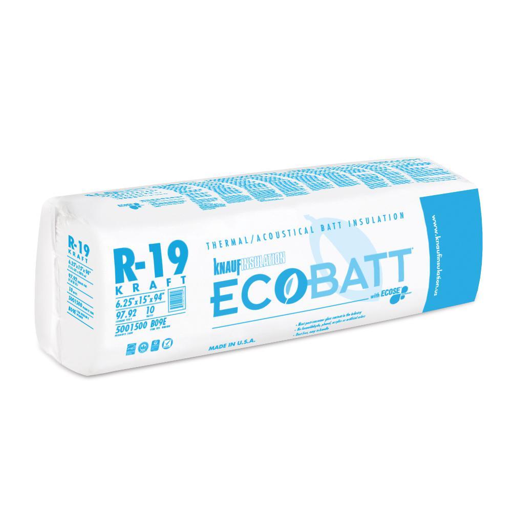 R-19 Kraft Faced Fiberglass Insulation Batt 15 in. W x 94 in. L