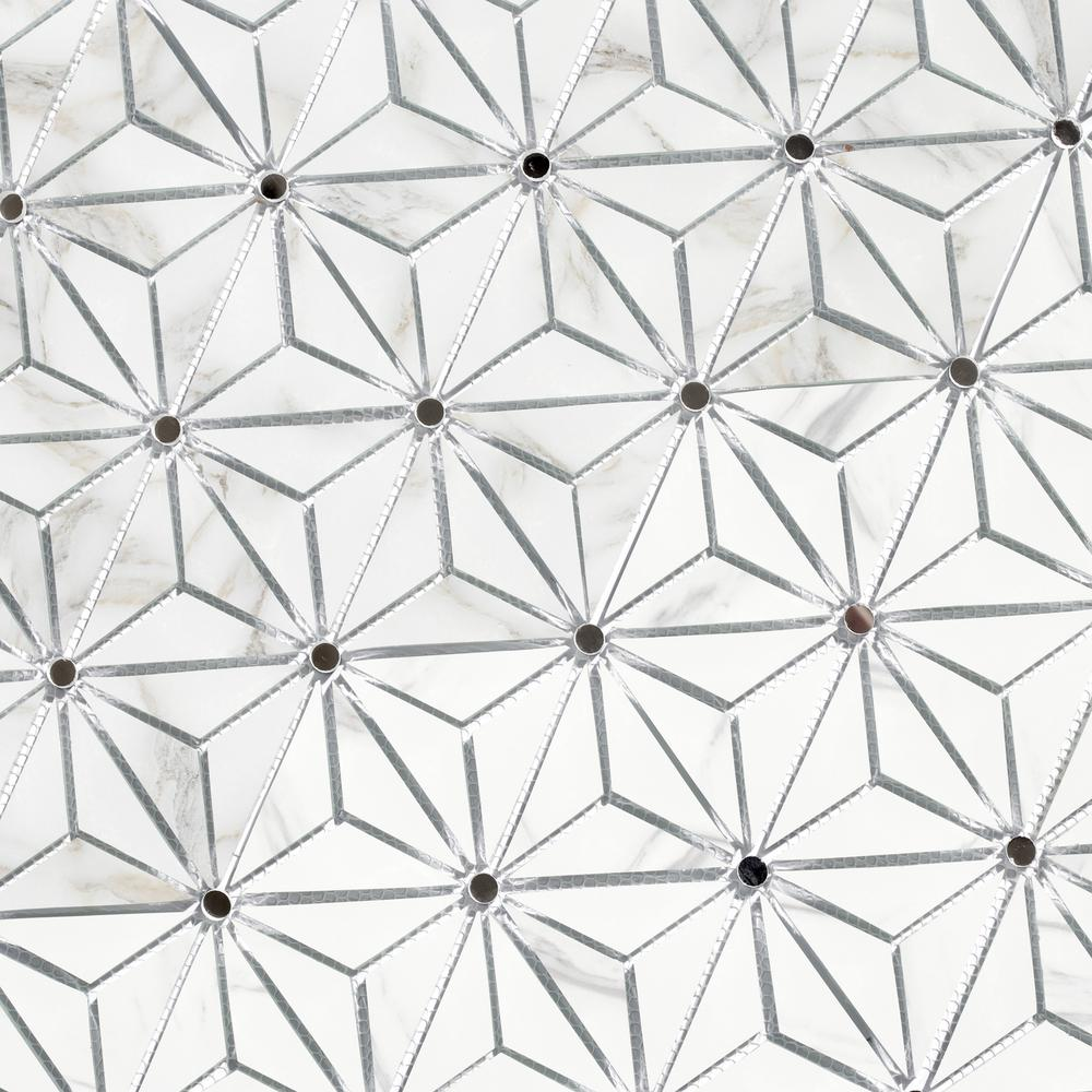 - ABOLOS Musico Calacatta Gold Kaleido Mosaic 6 In. X 7 In. Glass