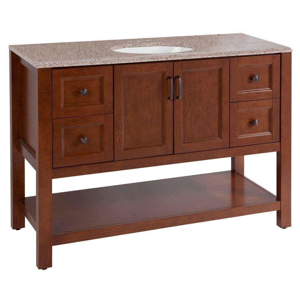 Catalina 48 in. W Vanity in Amber with Stone Effects Vanity
