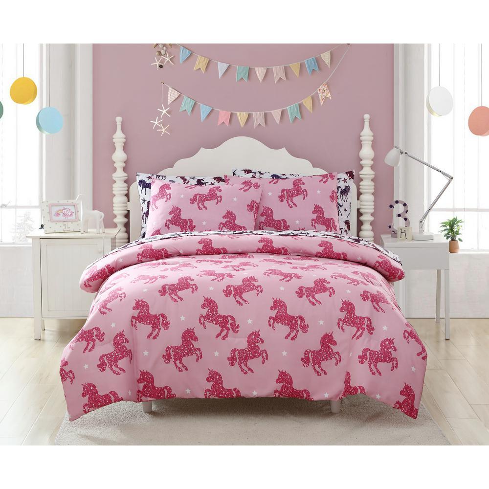 3-Piece Shimmering Glitter Unicorn Full Comforter Set