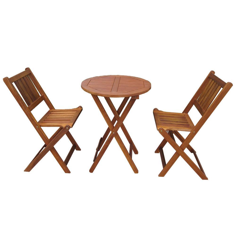 Miraculous Northbeam 3 Piece Acacia Wood Round Outdoor Bistro Set Lamtechconsult Wood Chair Design Ideas Lamtechconsultcom
