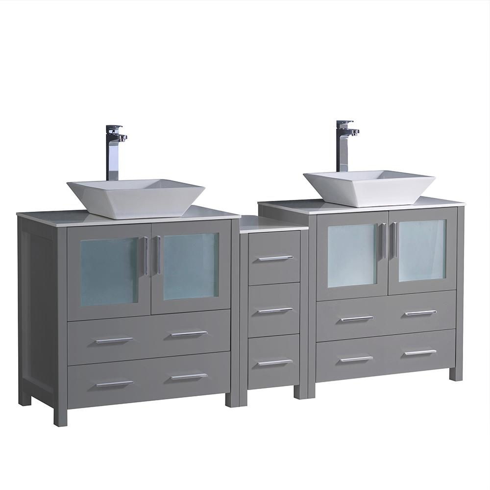 Fresca Torino 72 in. W Double Bath Vanity in Gray with Glass Stone Vanity Top in White with White Vessel Sink Middle Cabinet
