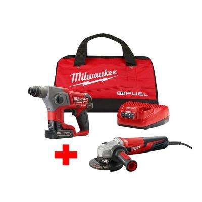 M12 FUEL 12-Volt Lithium-Ion Brushless Cordless 5/8 in. SDS-Plus Rotary Hammer Kit with Free 5 in. Small Angle Grinder