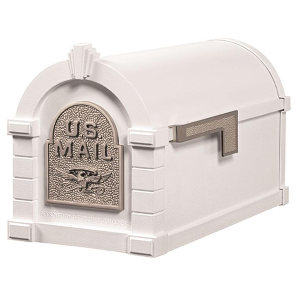 Keystone Series Aluminum Post-Mount Mailbox White with Satin Nickel