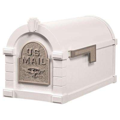 Keystone Series Aluminum Post-Mount Mailbox White with Satin Nickel