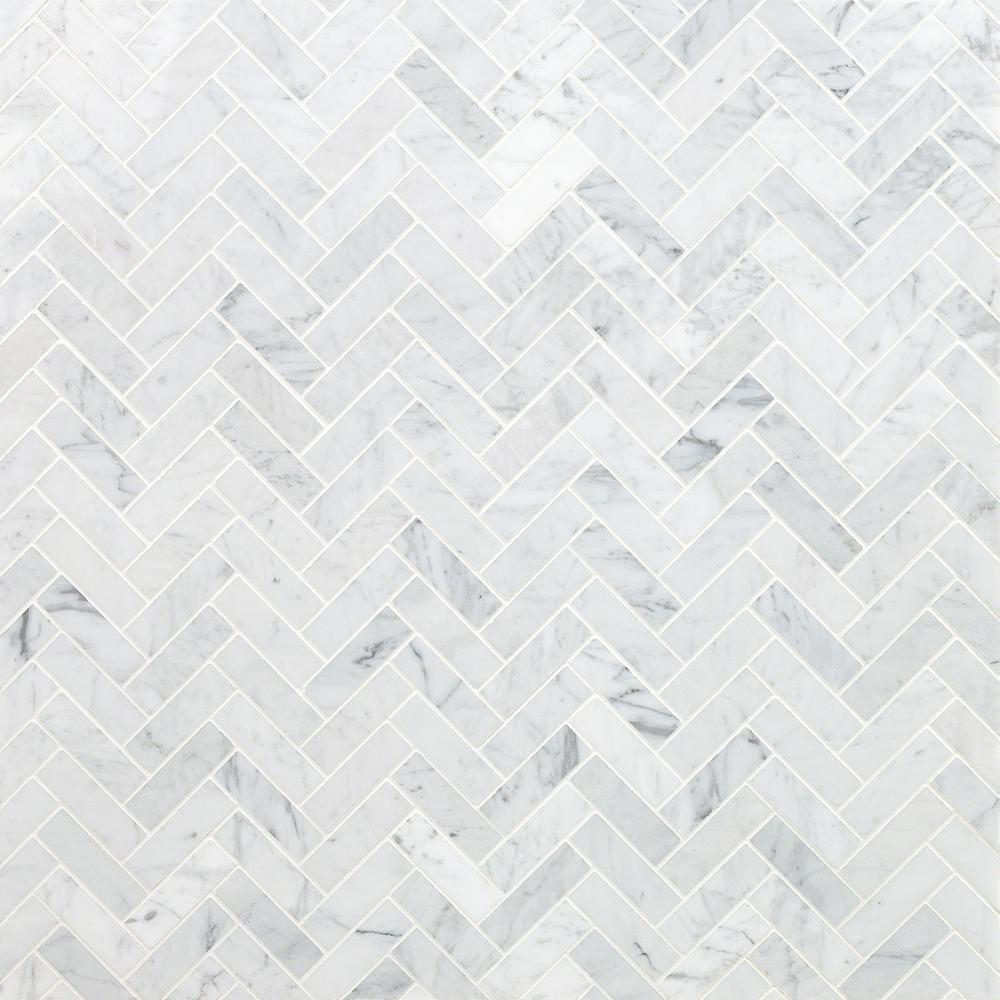 Ivy Hill Tile White Carrara Herringbone