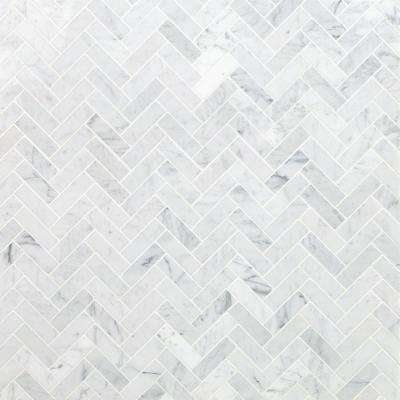 White Carrara Herringbone 12 in. x 12 in. 10mm Polished Marble Stone Mosaic Wall Tile (1 sq. ft.)