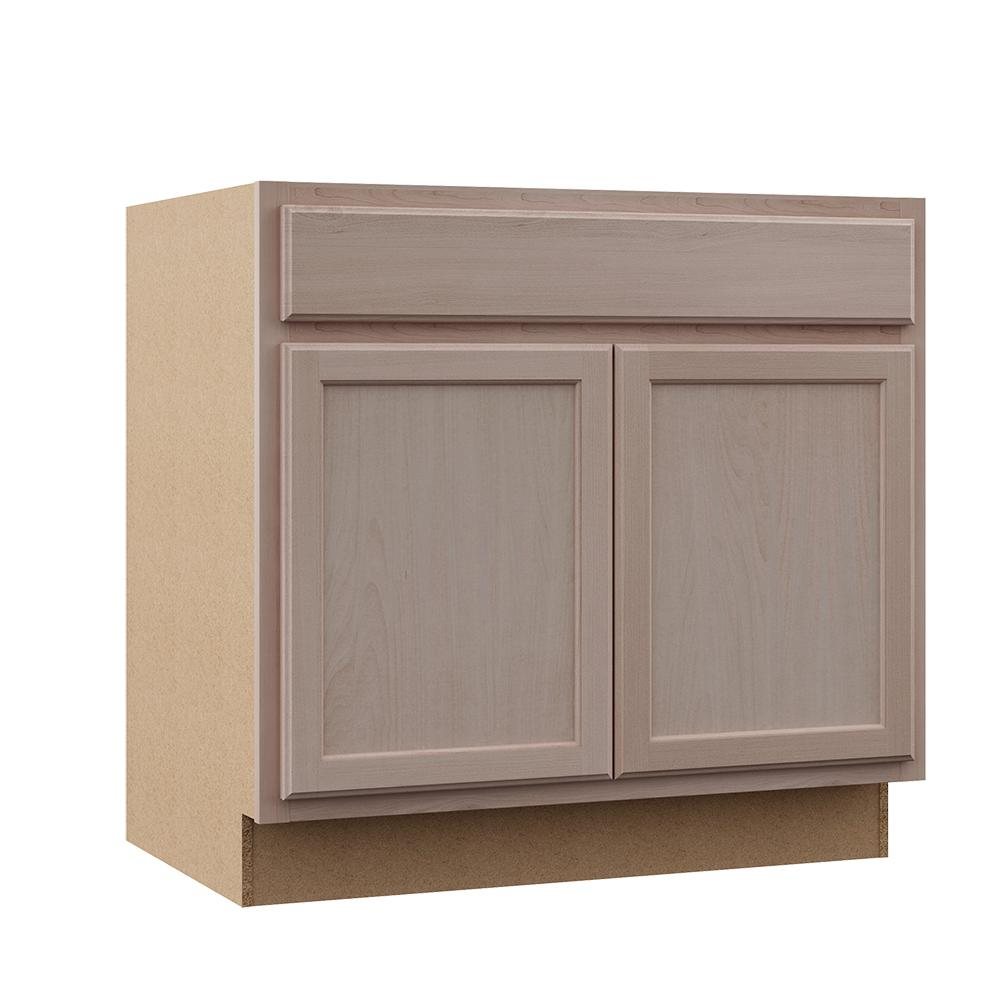 Hampton Bay Hampton Assembled 36x34.5x24 in. Sink Base Kitchen Cabinet in Unfinished Beech