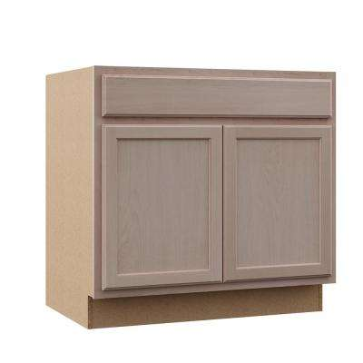 Hampton Assembled 36x34.5x24 in. Sink Base Kitchen Cabinet in Unfinished Beech