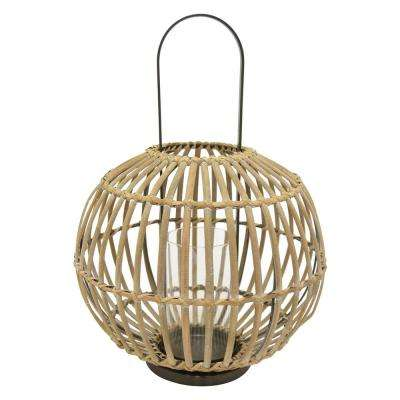 15.75 in. x 15.75 in. Brown Bamboo Lantern