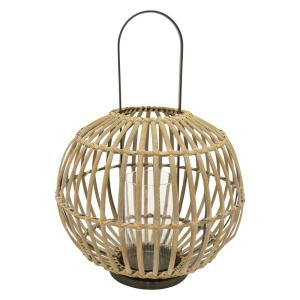 THREE HANDS 15.75 inch x 15.75 inch Brown Bamboo Lantern by THREE HANDS