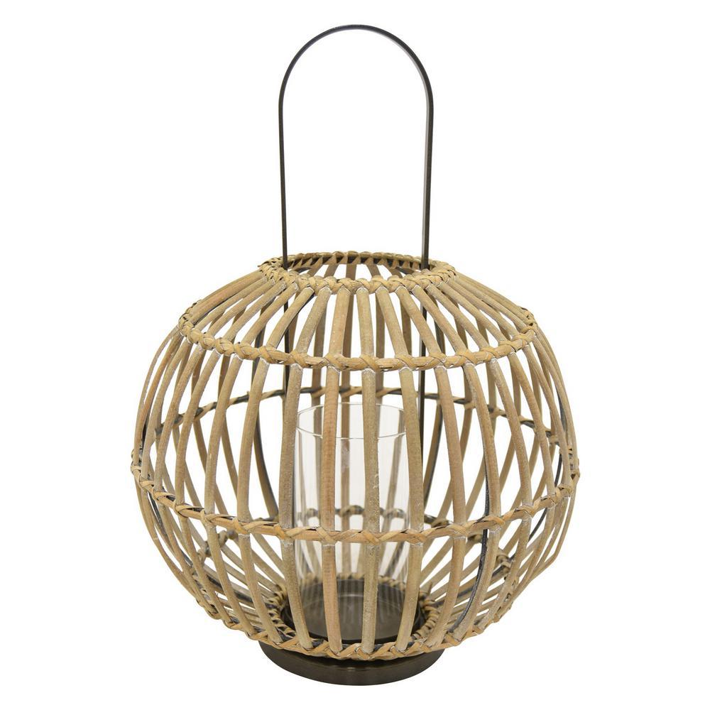 15.75 in. x 15.75 in. Brown Bamboo Lantern