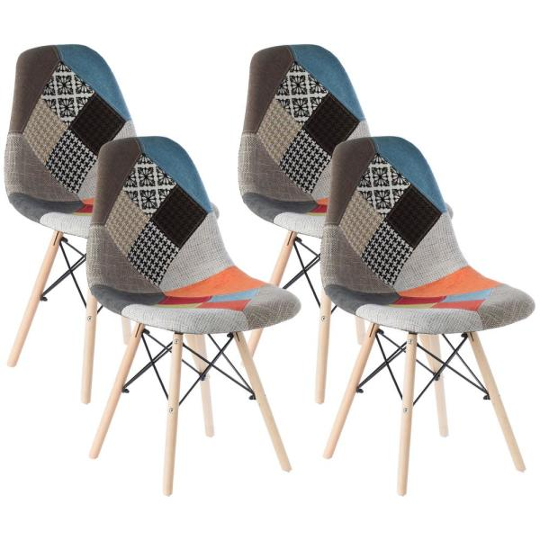 Bold Tones Modern Upholstered Plastic Multicolor Fabric Patchwork Dsw Shell Dining Chair With Wooden Dowel Eiffel Legs Set Of 4 Qi003747 4 The Home Depot