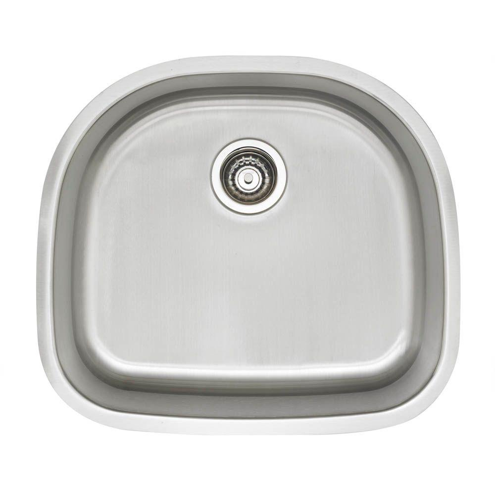 Stellar Undermount Stainless Steel 23 Single D Bowl Kitchen Sink