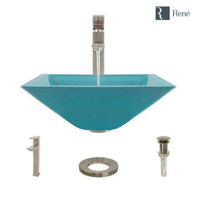 Glass Vessel Sink in Cerulean with R9-7003 Faucet and Pop-Up Drain in Brushed Nickel