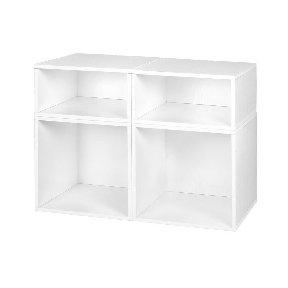 Niche Cubo 26 in. x 19 in. White 2-Full and 2-Half Cube Organizer