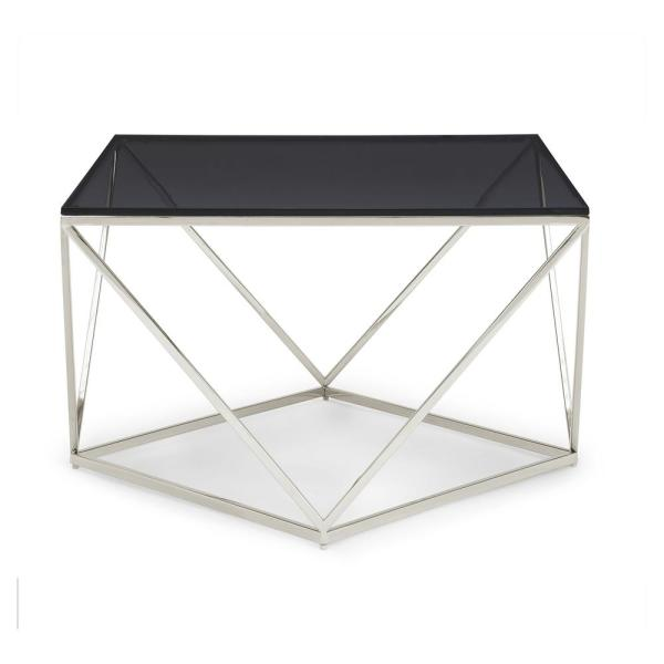 Modus Furniture Aria 41 In Black Polished Stainless Steel Large Rectangle Glass Coffee Table 4vg521 The Home Depot