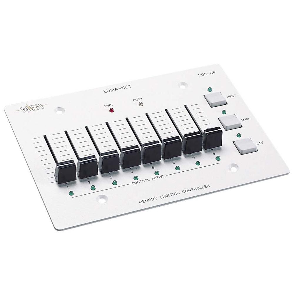 Luma-Net Remote Memory Control Panel with 8 Manual Slide Controls, White