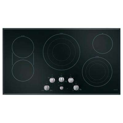 36 in. Radiant Electric Cooktop in Black with 5 Elements with Sync-Burners