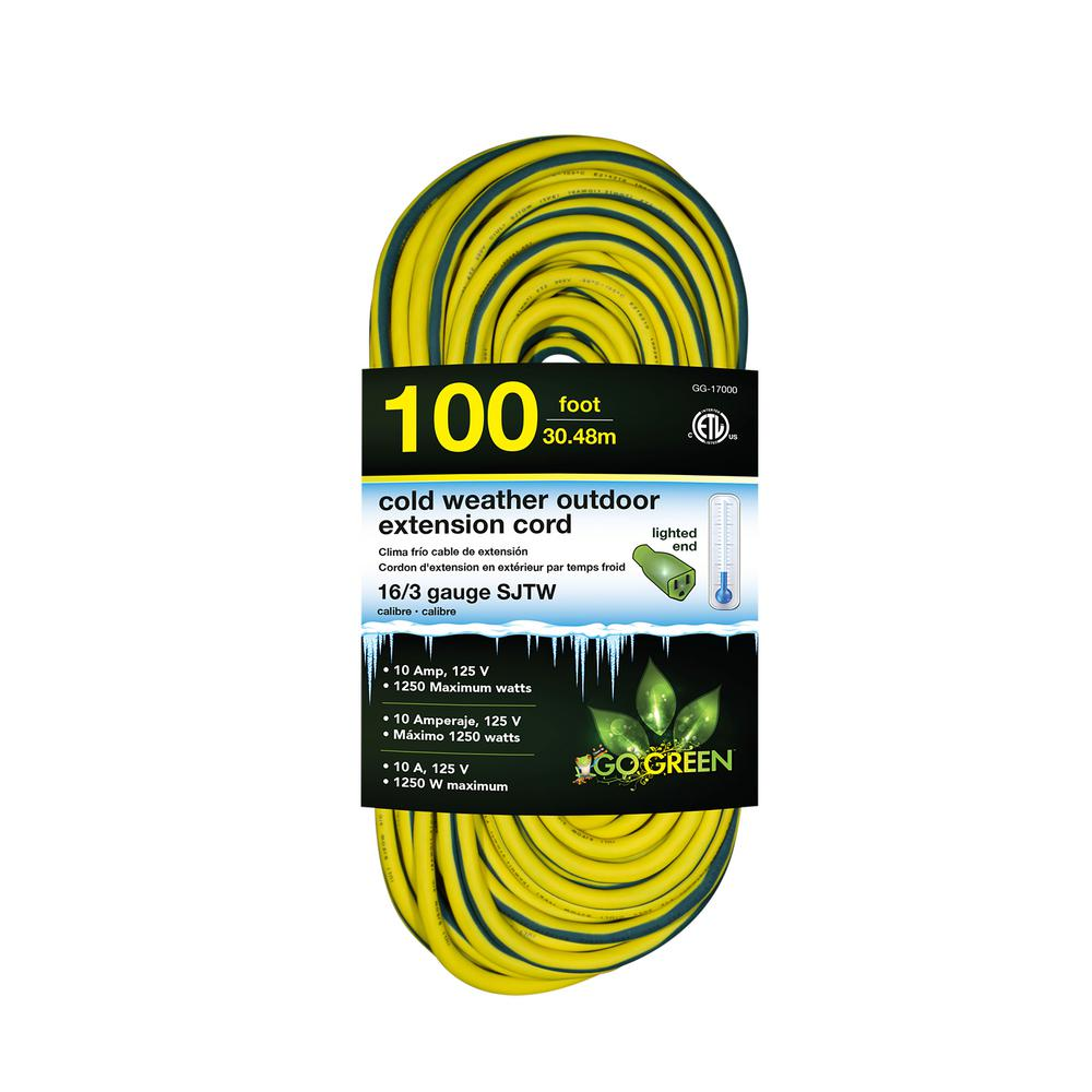 100 ft. 16/3 SJEOW Cold Weather Extension Cord with Lighted End