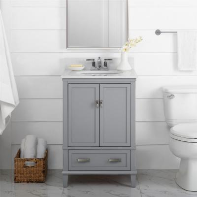 Irving 24 in. W Bath Vanity in Gray with Ocean Mist Engineered Stone Vanity Top with Pre-Installed Porcelain Basin
