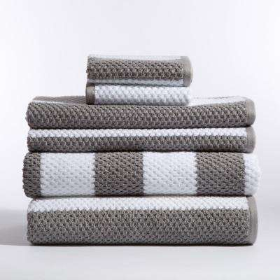 Stripes 6-Piece Bath Towel in Carlyle Nickel