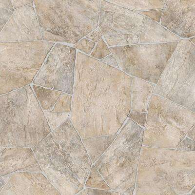 Broken Stone Beige 13.2 ft. Wide x Your Choice Length Residential Vinyl Sheet Flooring